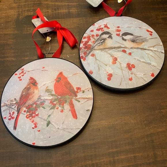 """Set of 2,  6"""" BIRD DISC ORNAMENT by RAZ Imports"""